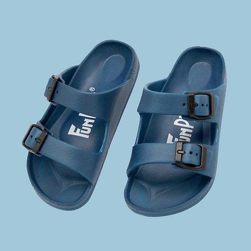 兒童雙排釦室外拖鞋-藍