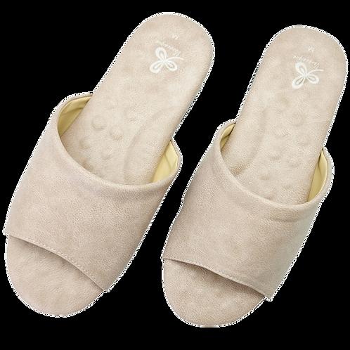 優質乳膠室內皮拖鞋-米