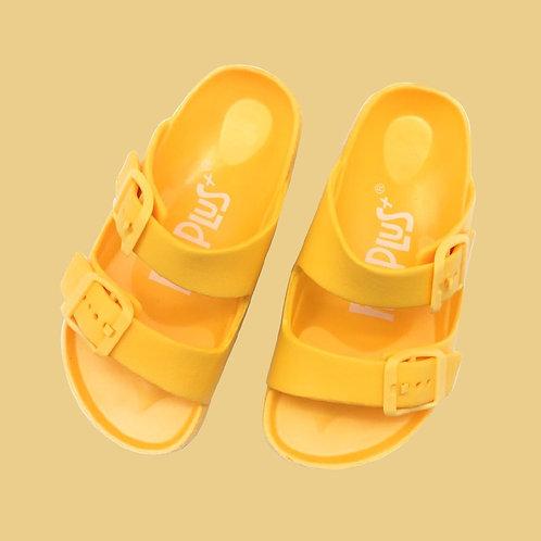 兒童雙排釦室外拖鞋-黃