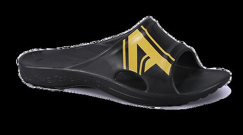 潮感個性足弓拖鞋-黑黃