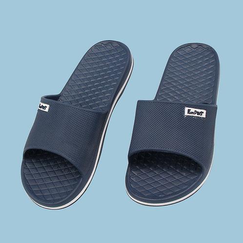 晶亮菱格紋室外拖鞋-深藍