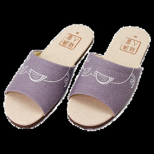 豬入滿富室內皮拖鞋-紫