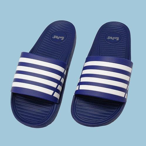 潮流雙色帶成人拖鞋-藍