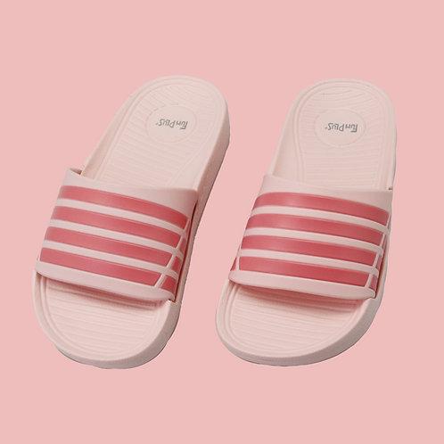 兒童潮流雙色帶拖鞋-粉