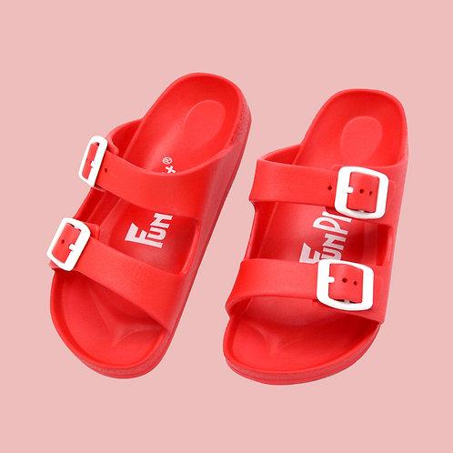 兒童雙排釦室外拖鞋-紅