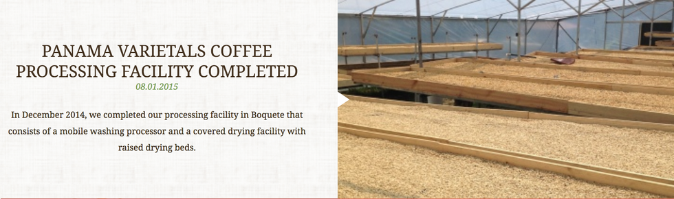 PANAMA VARIETALS COFFEE PROCESSING FACILITY COMPLETED