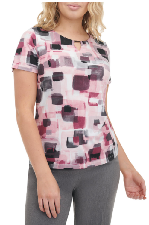 Haut en jersey imprimé géométrique à col rond