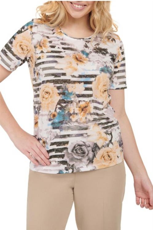 Haut en jersey à col rond et imprimé à fleurs