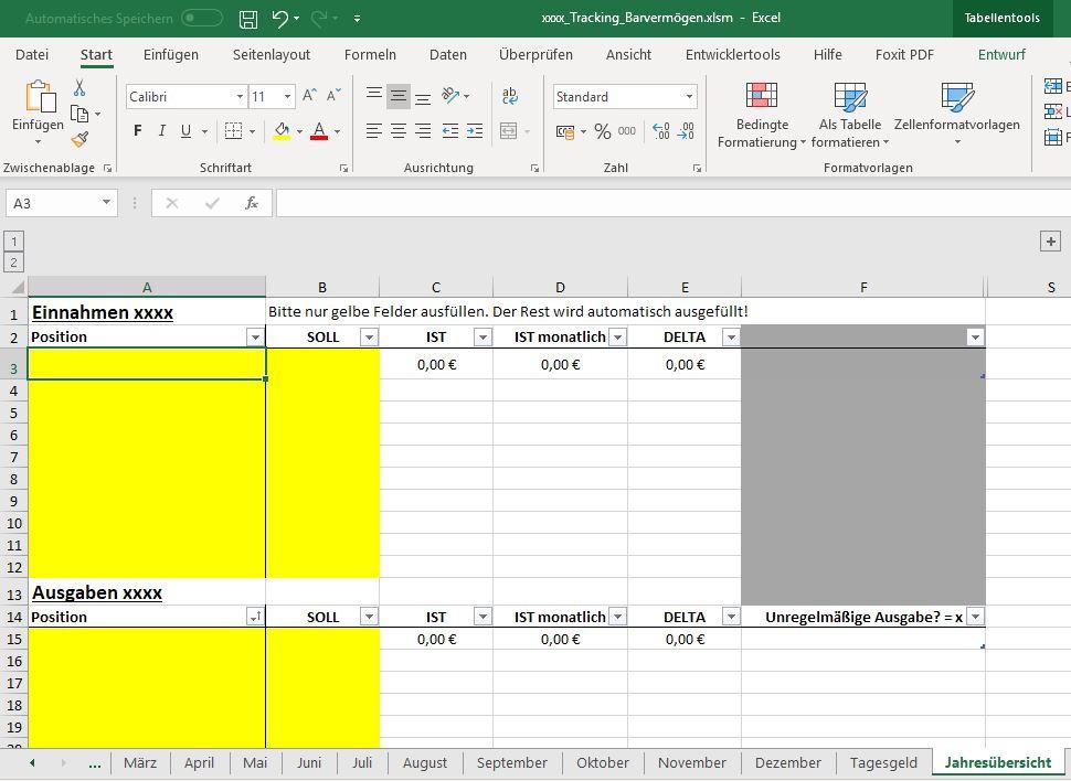 Haushaltsbuchvorlage in Excel 2016