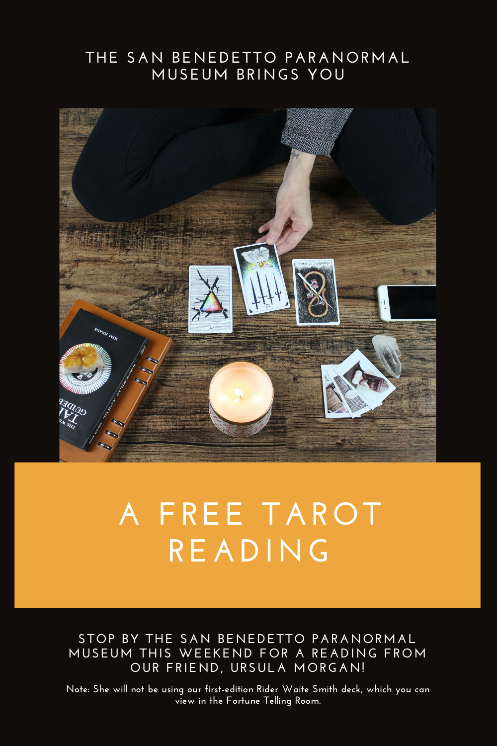 The San Benedetto Paranormal Museum brings you a free Tarot reading. Stop by the museum this weekend for a reading from our friend, Ursula Morgan. Note: She will not be using the first-edition Rider Waite Smith deck, available for viewing in the Fortune Telling Room.