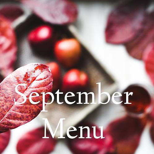 September's Menu Pre-Made 8 Half Size (Feeds 3-4)