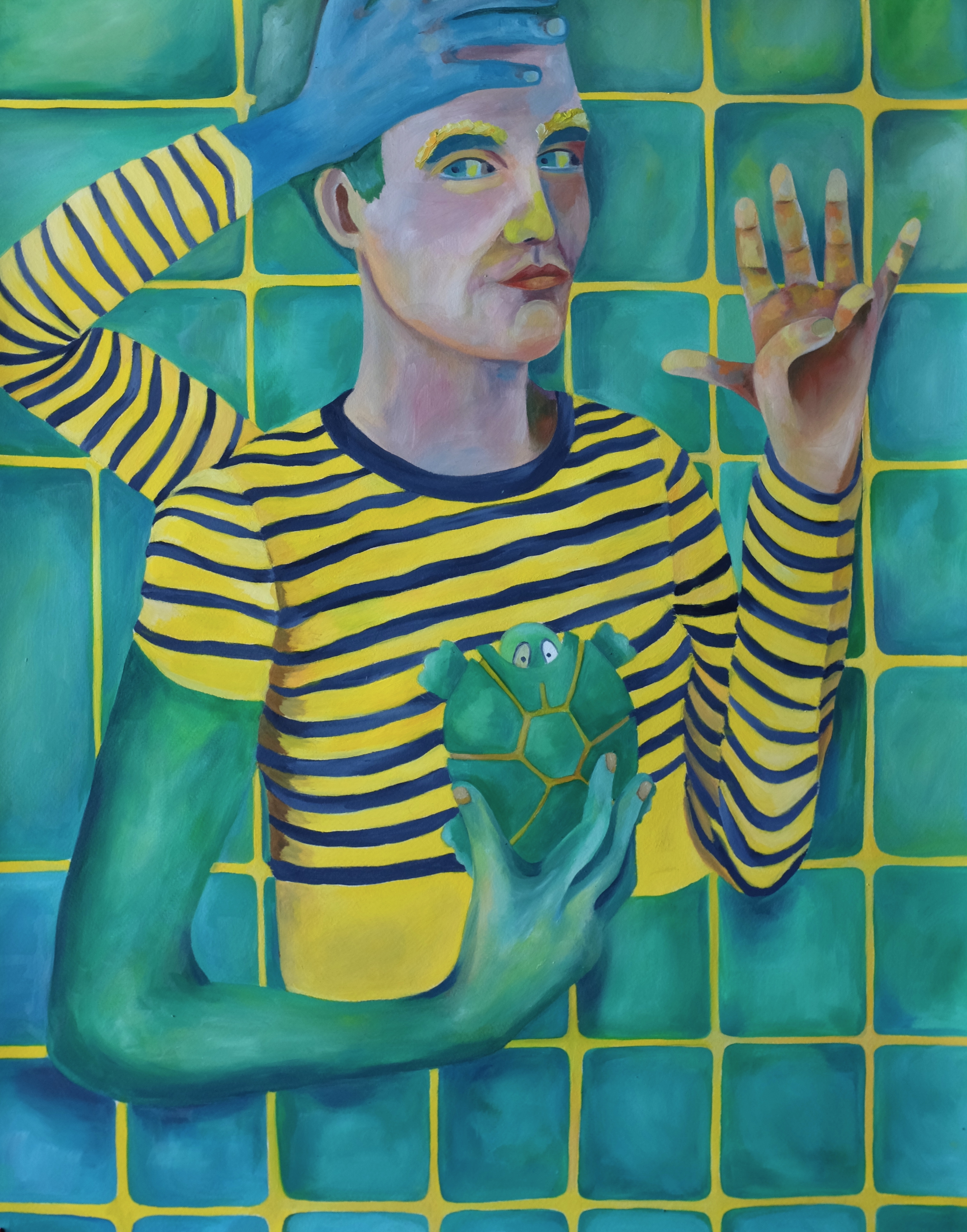 autoportrait à la main bleue
