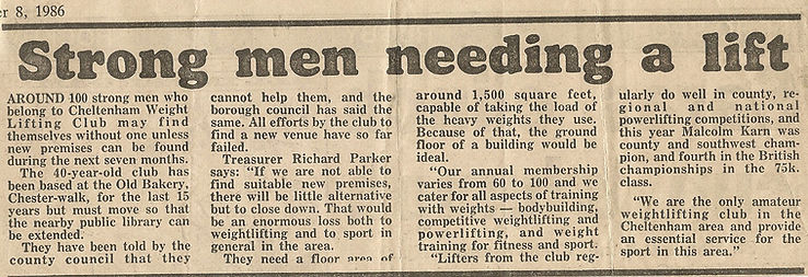 Cheltenham Weightlifting Club, Gloucestershire Echo 1986