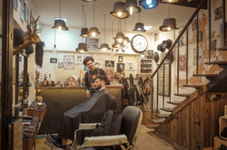 at the barbers shop