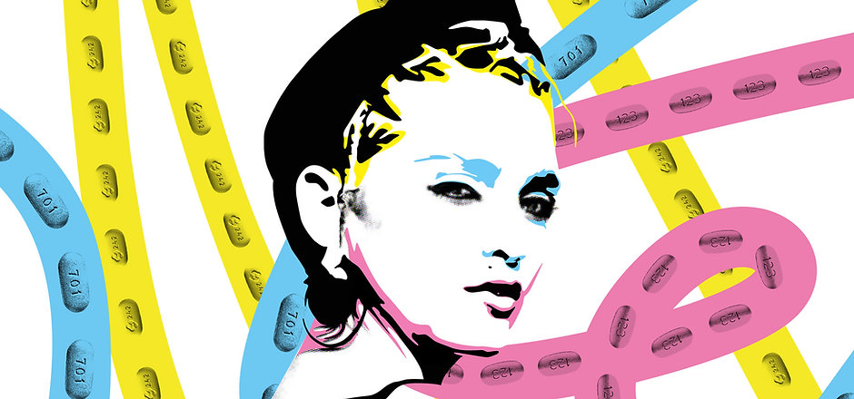 A black ink illustration of Madonna. The background is pink, yellow and blue ribbons made of pills