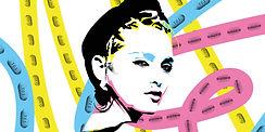 A black ink illustration of Madonna. The