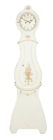 CL192 Mora Clock Swedish Antique White Flowers 1800s 206cm