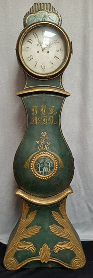 CL123 Fryksdall Swedish Mora Clock Green Gilt 1800s