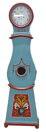 CL187 Mora Clock Swedish Antique Blue Red 1800s 205cm