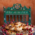 swedish cinnamon buns with antique chair