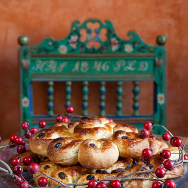 swedish cinnamon buns with antique chair