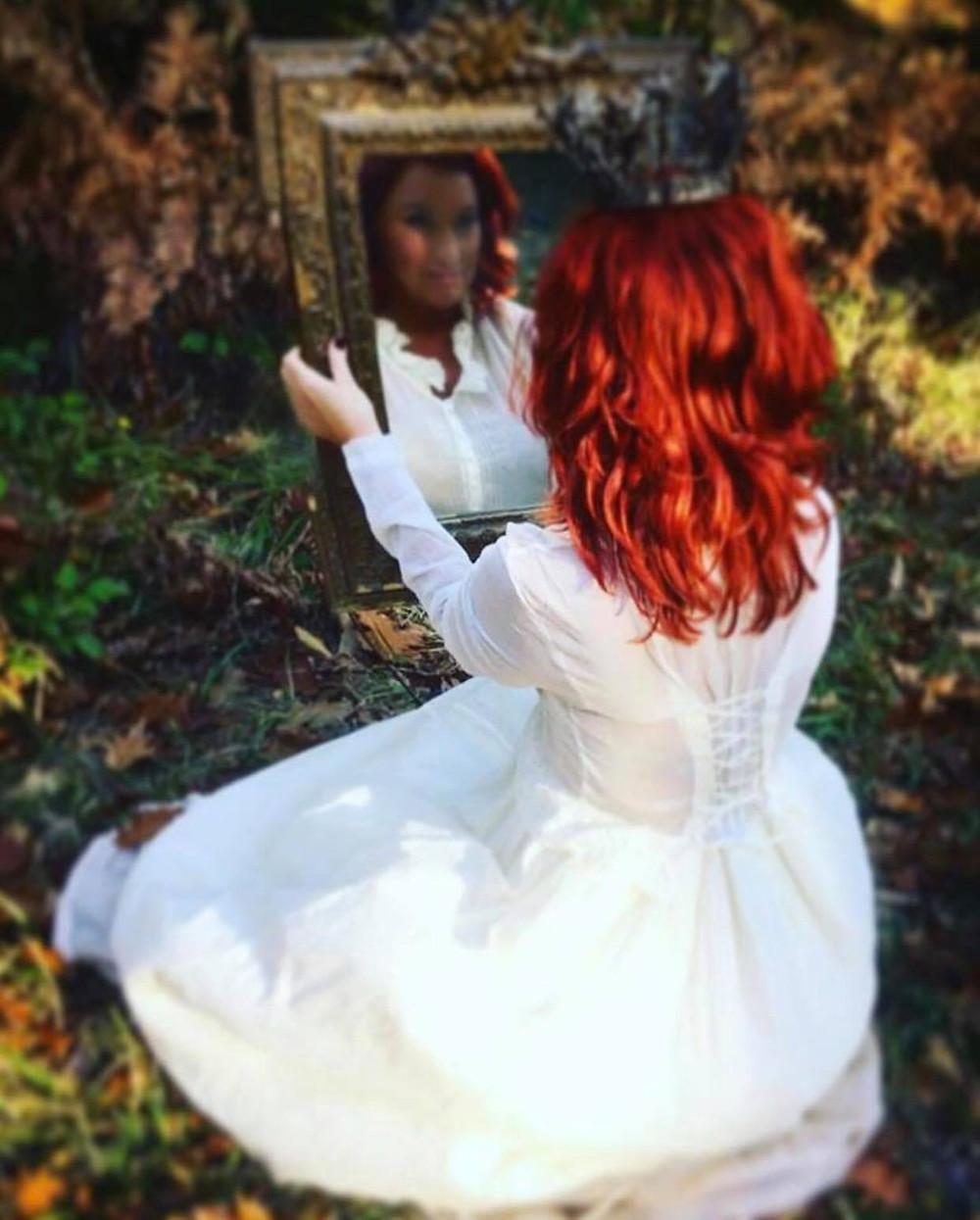 madeleine lee wears ewa i walla with french antique brocante gustavian mirror