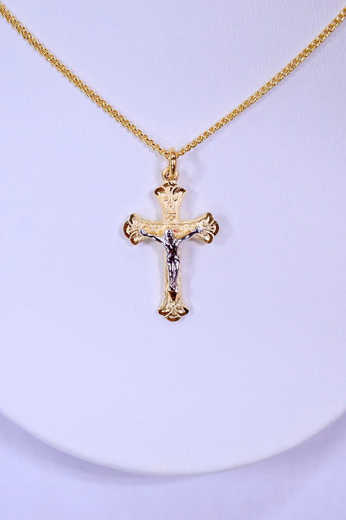 Gold over Sterling Two Tone Crucifix Pendant
