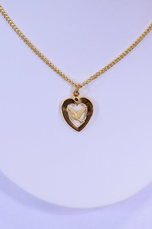 Gold over Sterling Heart with Dove Pendant