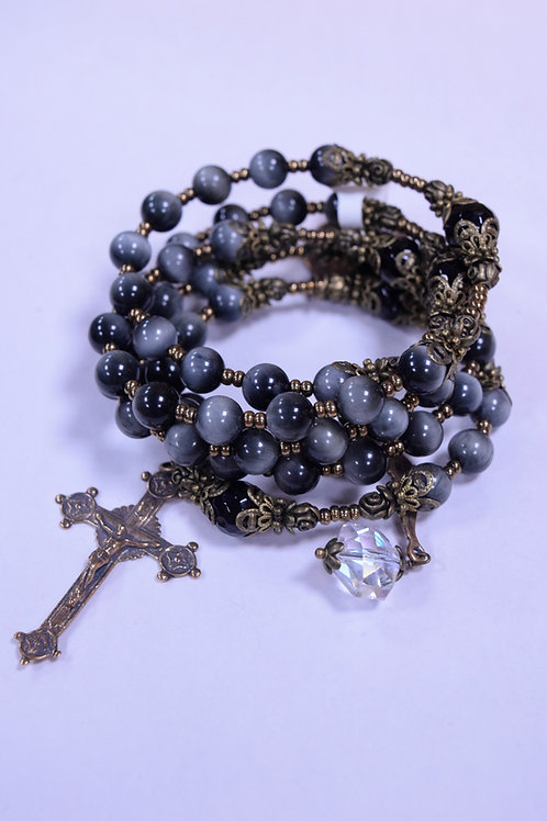 Handcrafted Onyx and Crystal Rosary Bracelet