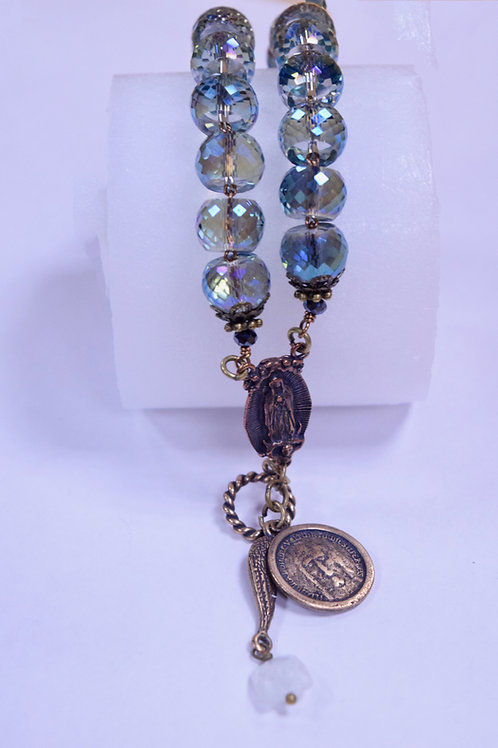 Handcrafted Crystal and Moonstone Rosary Bracelet