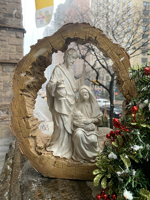 Log Nativity Statue