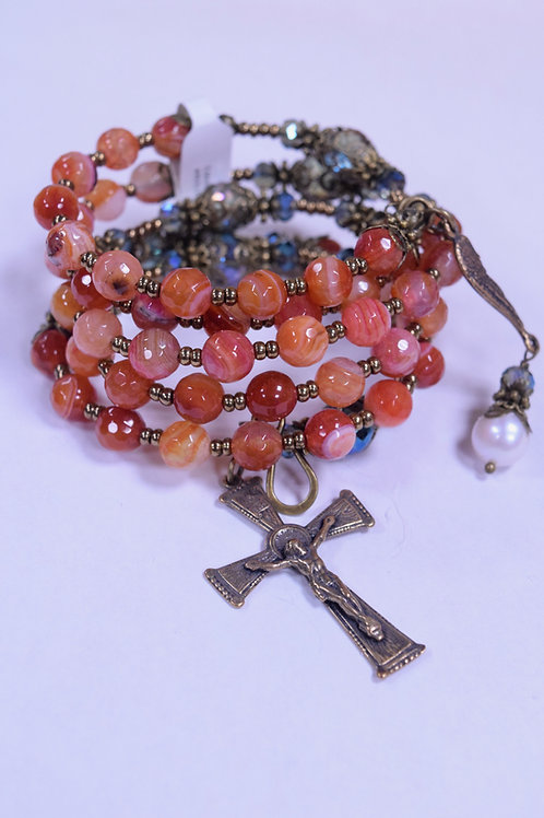 Handcrafted Agate and Crystal Rosary Bracelet