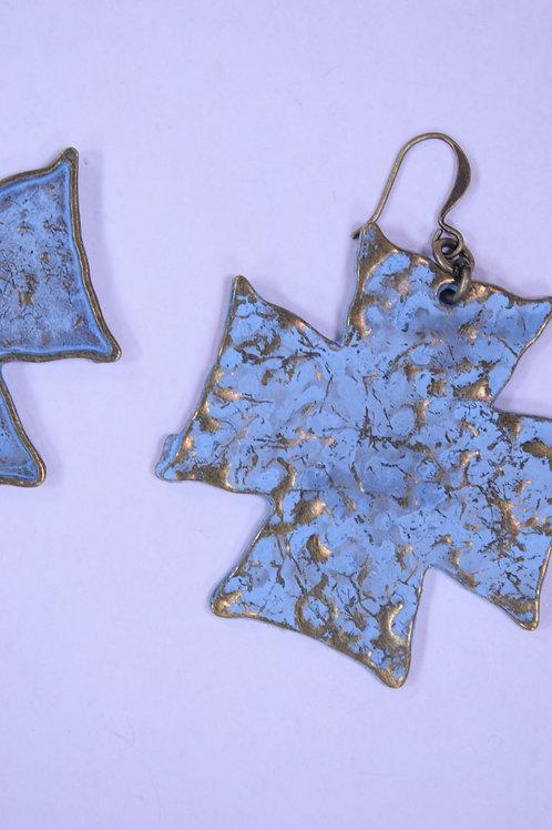 Handcrafted Bronze Holy Cross Earrings