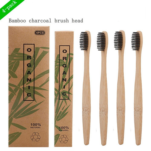 4pcs Natural Biodegradable Bamboo Charcoal Toothbrush Ecofriendly Recyclable