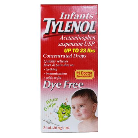 TYLENOL INFANT DYE FREE WHITE GRAPE 24ML
