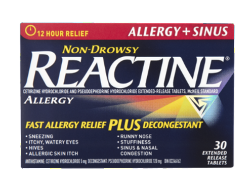REACTINE ALLERGY + SINUS 30'S