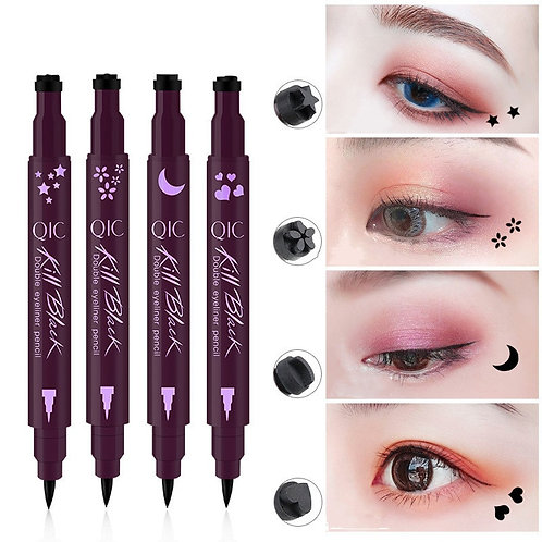 2 in 1 Liquid Glitter Eyeliner With Eyeliner Stamp Thin Wing Seal Makeup
