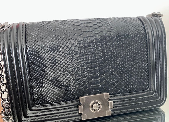 Black Snake Print Crossbody Bag