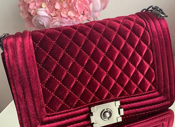 Burgundy Velveteen bag - Medium