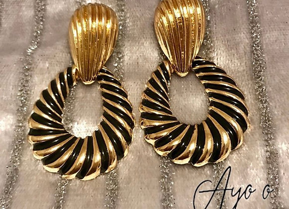 Black & Gold Twisted Earrings