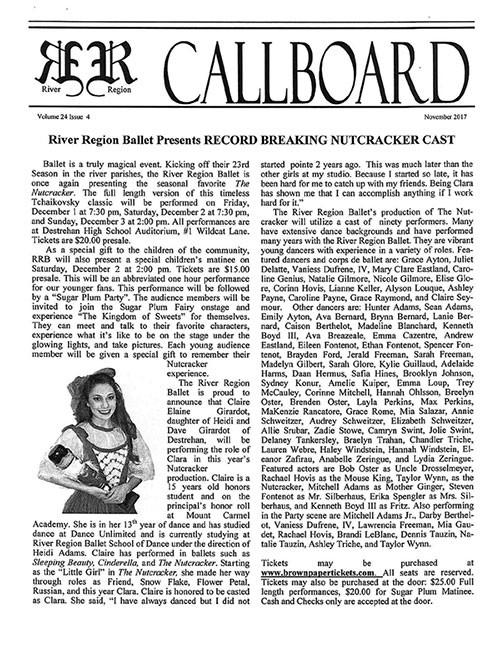River Region Drama Guild Callboard for November 2017