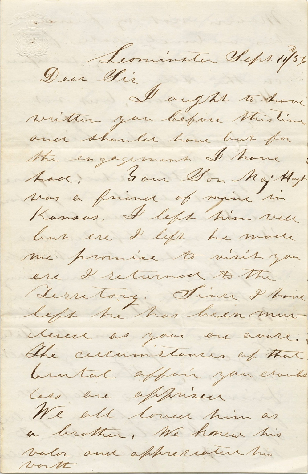 """""""Letter to the parents of David Hoyt from James F. Legate"""" by James F. Legate, American, 1829 - 1902 is marked with CC0 1.0"""