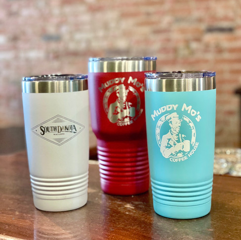 Keep your Muddy Mo's coffee hot or cold in a logoed drink tumbler.