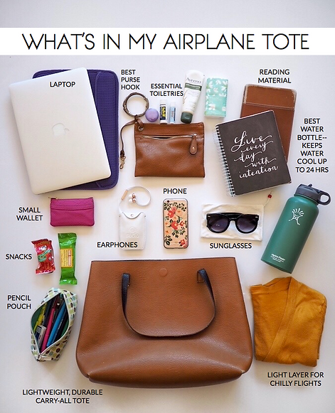 Items to bring on an airplane tote