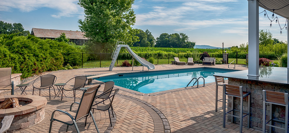 Paver pool patio, outdoor kitchen - Western Mass.