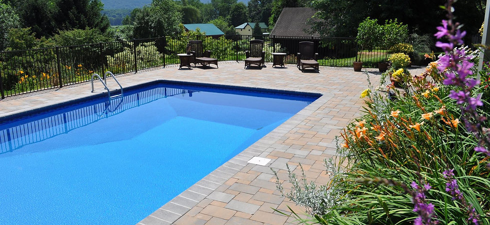 Paver pool patio in Western Mass.