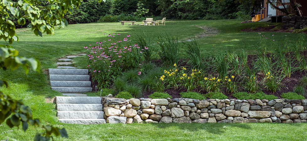 Stone Wall, Granite Steps and Planting - Westen Mass.