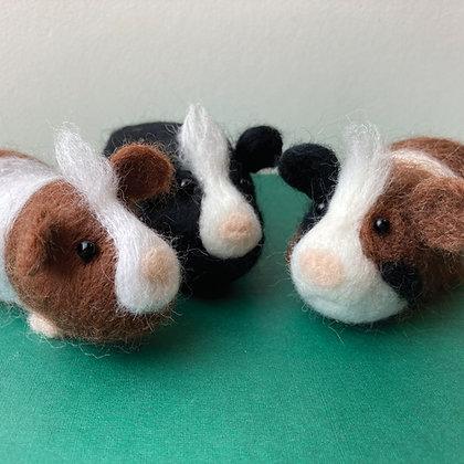 Needle Felting Kit Guinea Pigs. Make three!