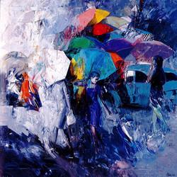 Folla di ombrelli, olio e acrilico su tela, 140x140 cm