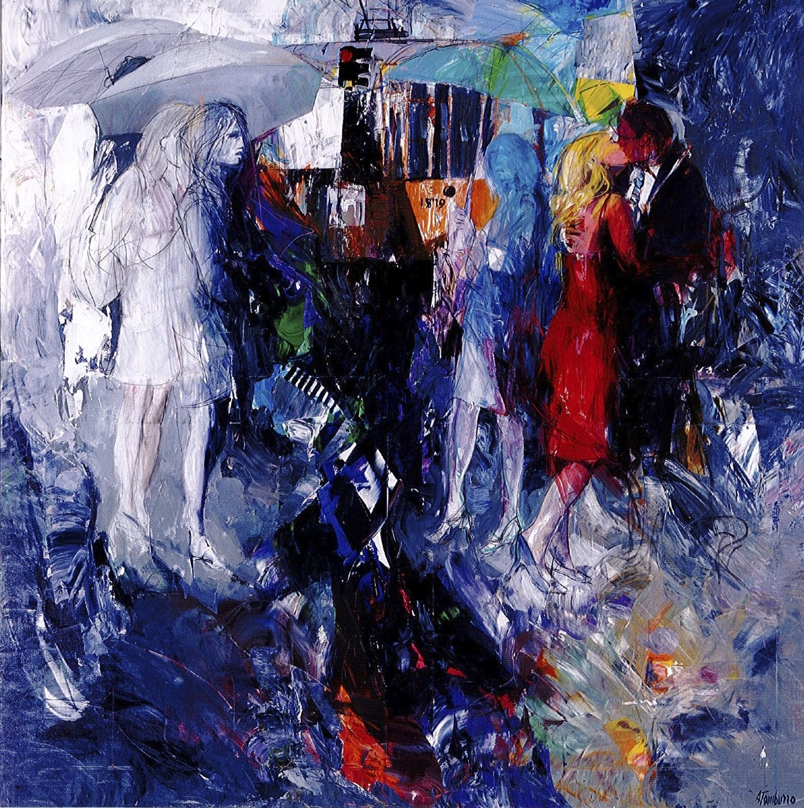 Kiss in the rain, olio e acrilico su tela, 140x140 cm